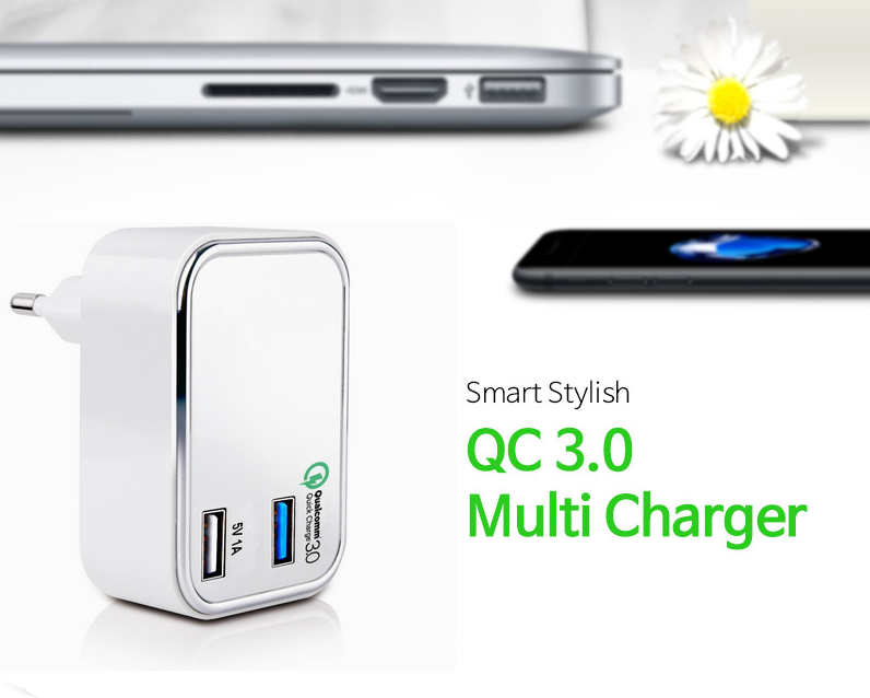 Qualcomm certified quick charge QC 3.0 home /travel /wall Charger 23W with EU UK plug