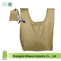 Colorful polyester shopping shoulder bags Foldable reusage T-shirt bags Eco friendly shopping bags with drawstring pouch