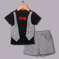 2016 New Boy Clothing Set Black Shirt Clothes Suits Red Bow Tie Children Clothes Kids Apparel Free Shipping CS40420-25