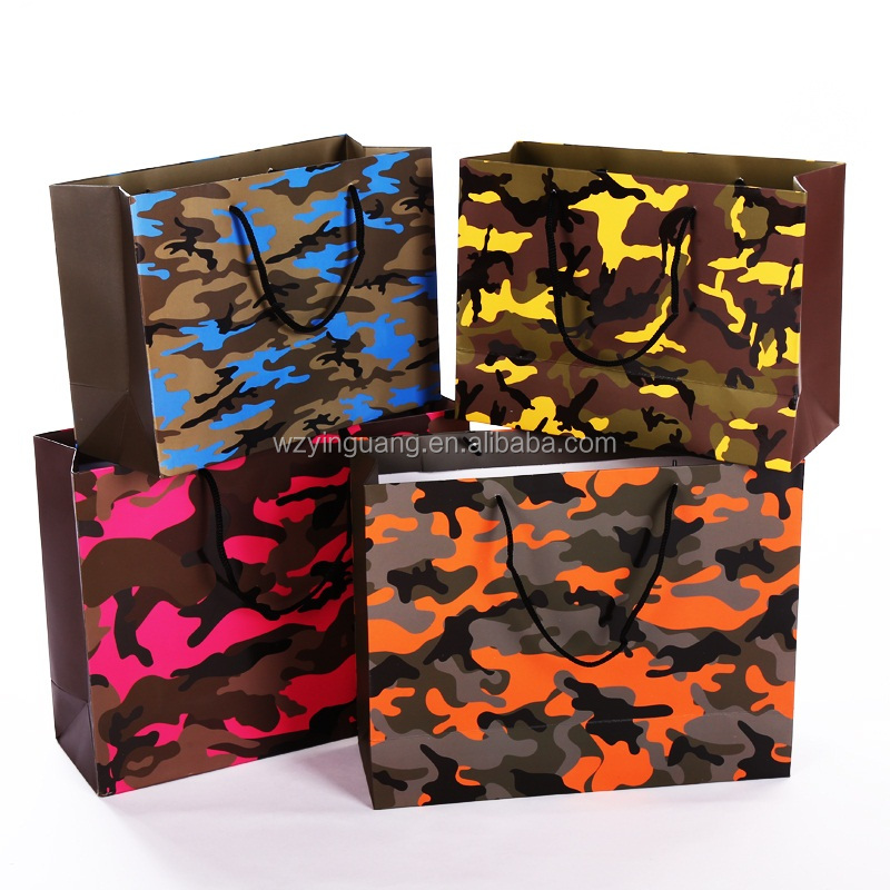 Foldable Large Camouflage paper carry shopping bag