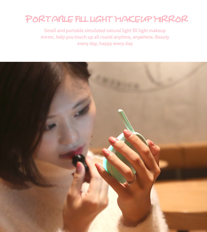 Led Lighted Compact Travel Makeup Mirror With Rechargeable Battery Power Bank
