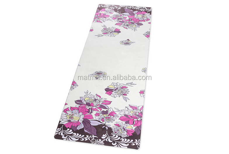 factory quality natural rubber yoga mat covered with microfiber