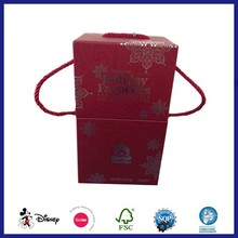 Fancy wine gift paper packaging box with handle