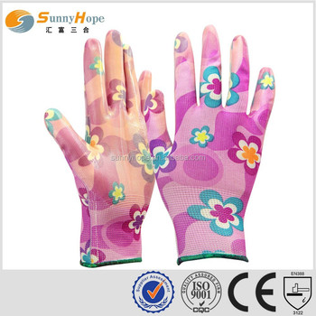 sunnyhope cheap colored pattern cute13guage nitrile coated wholesale kids gardening gloves