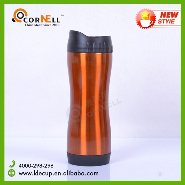Double Wall Stainless Steel Travel Mug Copper Tumbler with Push Button Type Lid & Rubber Bottom