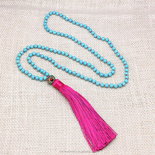 Exclusive Fashion handmade Turquoise Tassel Long Necklace popular vintage Nepal Charm Bead jewelry for Women free shipping
