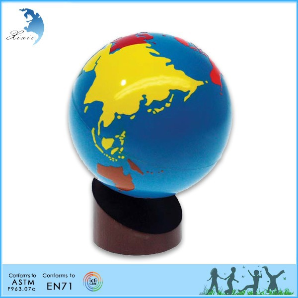Wooden Montessori Materials,Educational Wooden Toys,Continents Globe
