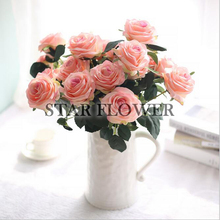 2017 New Arrival SF2017156 Soft Pink Bridal Handhold Flowers Artificial Silk Roses Bouquet x 45cm Stems