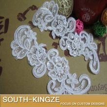 Lace trim applique with seed pearls for wedding prom evening dress in White 5 pairs/Lot