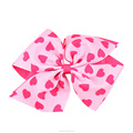 Handmade 6 Inch Heart Printing Hair Bow For Girls
