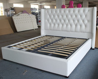 Soft genuine/synthetic leather fabric bed of European headboard furniture style for double frame with storage box