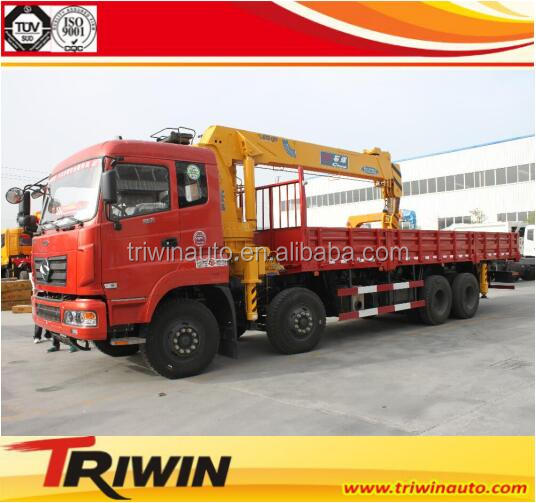 2017 New dongfeng 8x4 12 wheels lorry truck mounted crane 12 ton
