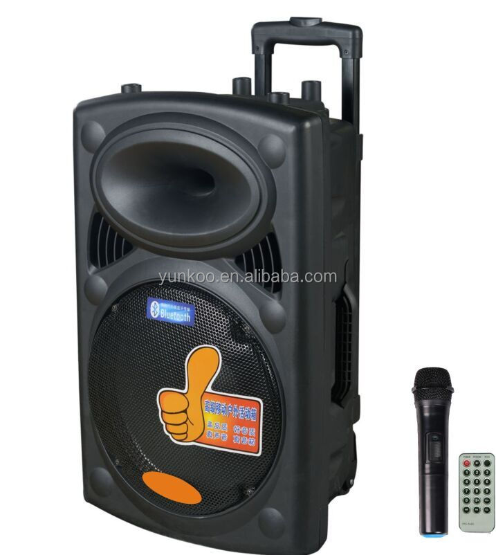 2016 outdoor 10 inch 12 inch 15 inch plastic bluetooth fm radio usb sd card reader karaoke rechargeable portable trolley speaker
