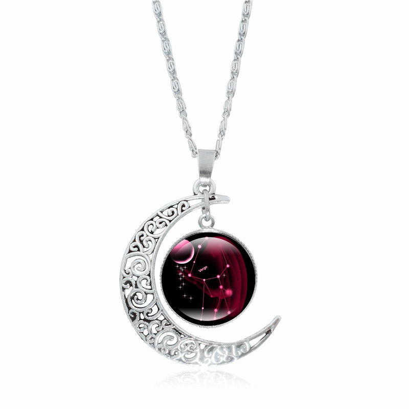12 constellations time precious stones moon shape necklace pendant <strong>jewelry</strong>