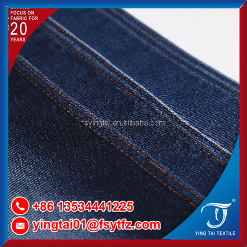 Twill jeans fabric dark blue color bamboo woven 85%cotton 15%polyster denim fabric