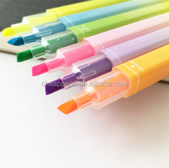 new design superior quality double head fluorescent pen with a fixed yellow