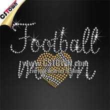 Wholesale bling football mom rhinestone hotfix motif design