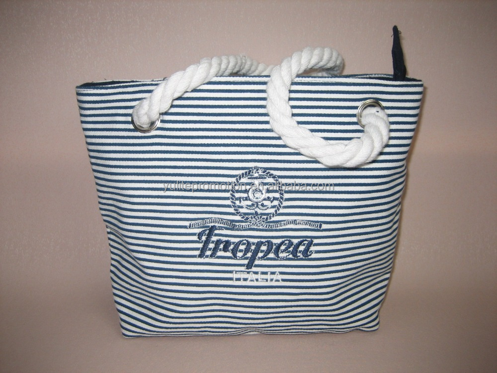 small canvas tote bag with stripe printing, good for beach small things