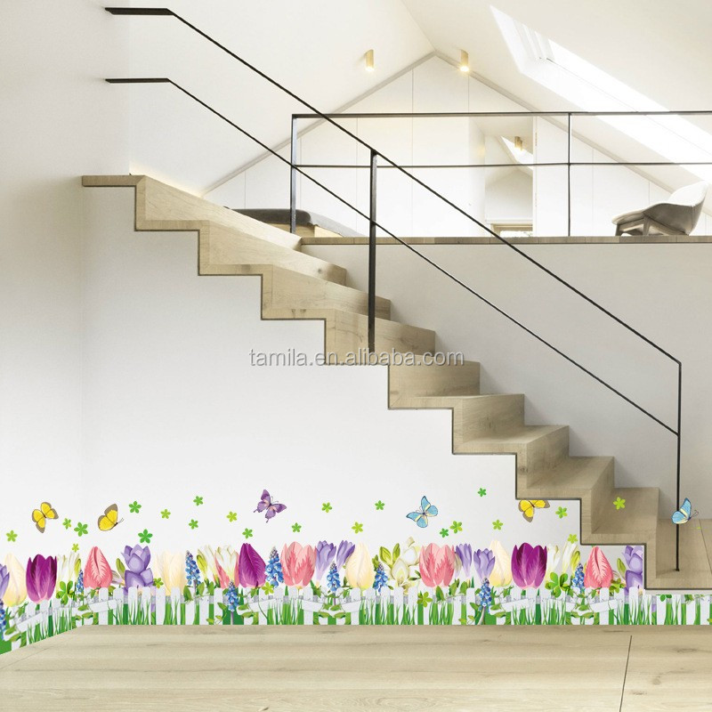 Living room wall wall stickers corner cornerboard wallpaper stickers self-adhesive flowers Baseboard waistline stickers