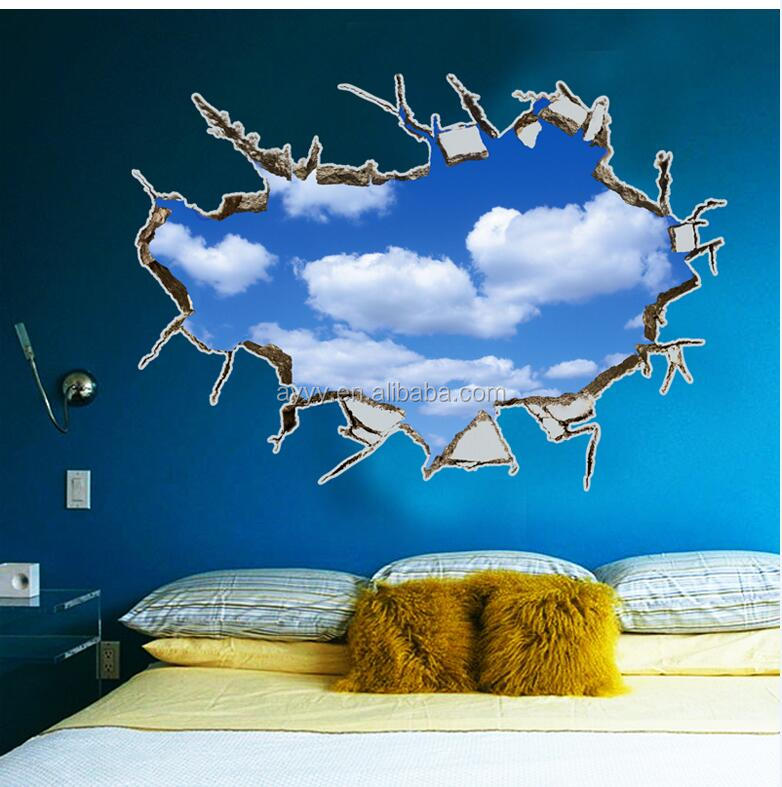 AY8015 3D effect broken wall The blue sky and white clouds large home decorative wall decal removable PVC vinyl wall sticker