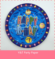 "9"" (23cm) Round Paper Plates "" HAPPY B-DAY"" Birthday Party Tableware For Boy Party"