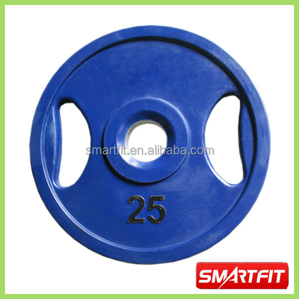 25 kg blue colored Rubber Plate with handle grip silicon plate with inner metal ring