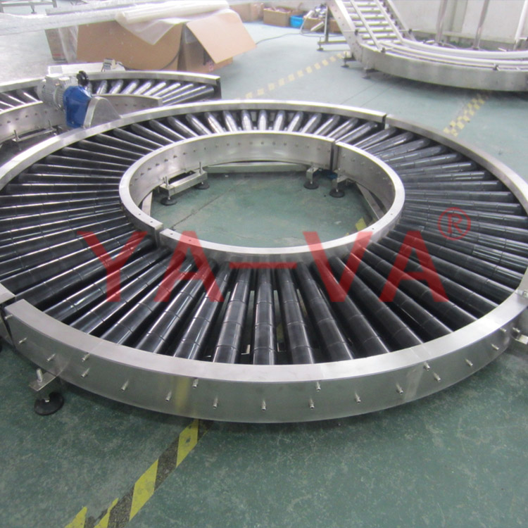 curved roller conveyor system for heavy duty