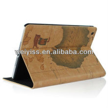 Brown /Retro World Map Pattern Notebook Design Cowhide Leather Smart Stand Case Cover Folio for ipad Mini