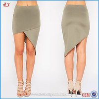 Best Selling Designer Clothes Magic Wrap Hem Asymmetrical Scuba Bodycon Skirt Women Raised Skirts