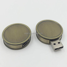 Wholesale high-speed 100% real capacity usb 2.0 usb memery stick round coin usb flash drive with logo printing
