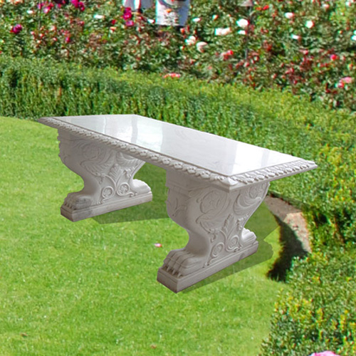 Western central park bench design with dog carving marble park bench