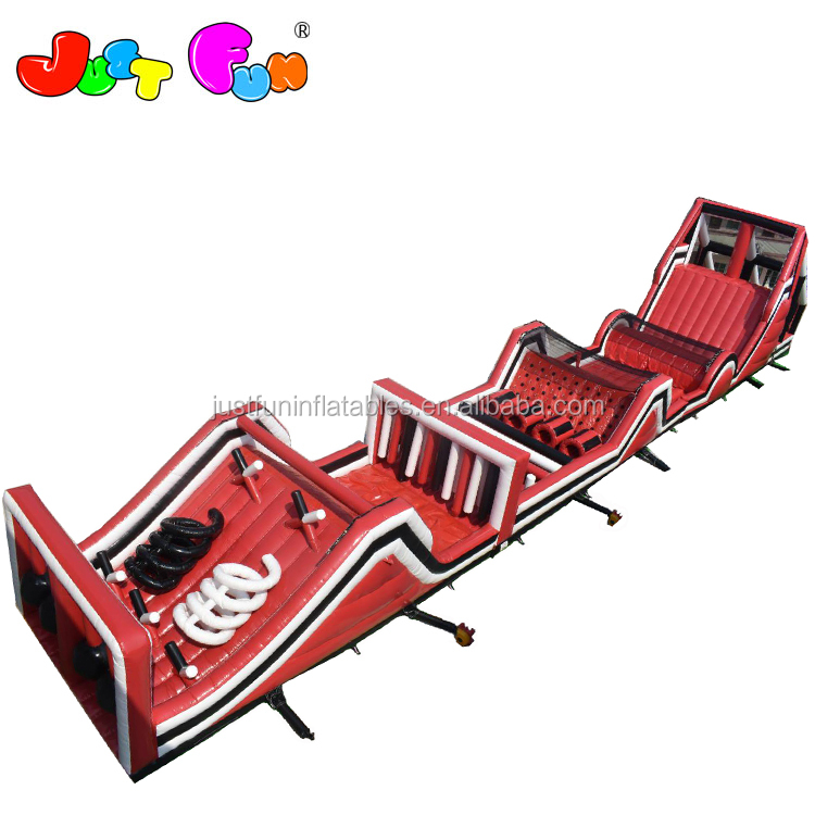 giant red n black  inflatable  obstacle courses for kids n adults