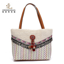 Linen material ladies Bohemian style bags fashion handbags for women