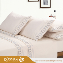 KOSMOS Bedding Polycotton Embroidery Lace Bed Cover Sheet