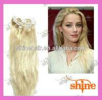 Hot selling clip in indian remy double weft hair extensions