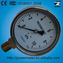 75mm brass connection stainless steel case bourdon tube bellows pressure gauge