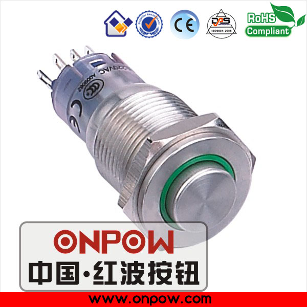 Can be customized ONPOW (CE, ROHS) 16mm 1NO1NC high round momentary ring illuminated stainless steel push button switch