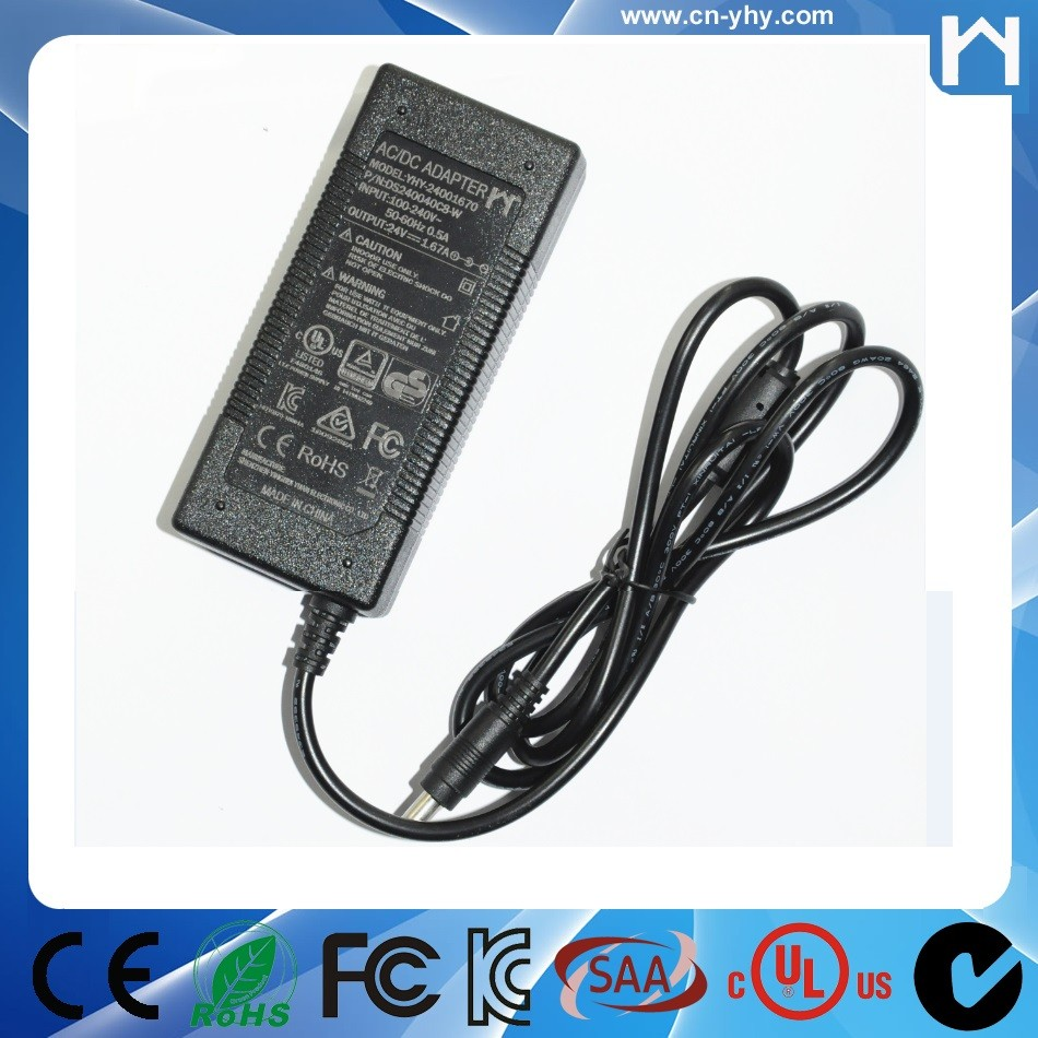 LEVEL 6 AC Adaptor 24Volt 1.67Amp UL Power Supply 24V 1.67A for Led lighting lcd monitor