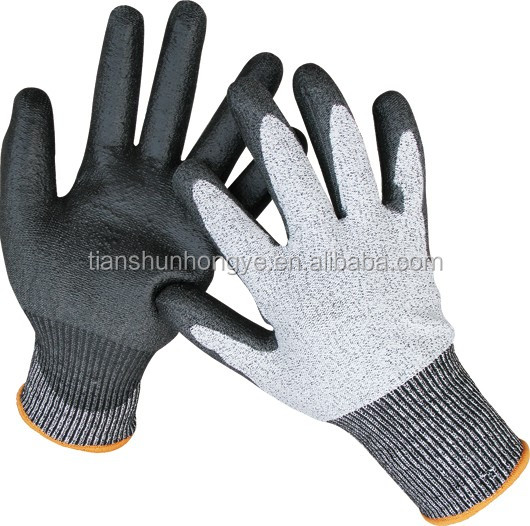 13G HDPE Cut Resistant Level 3 Level 5 PU Gloves