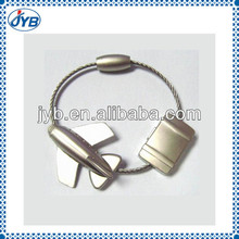 2013 custom luxury polished 3D airplain keychain with iron hoop