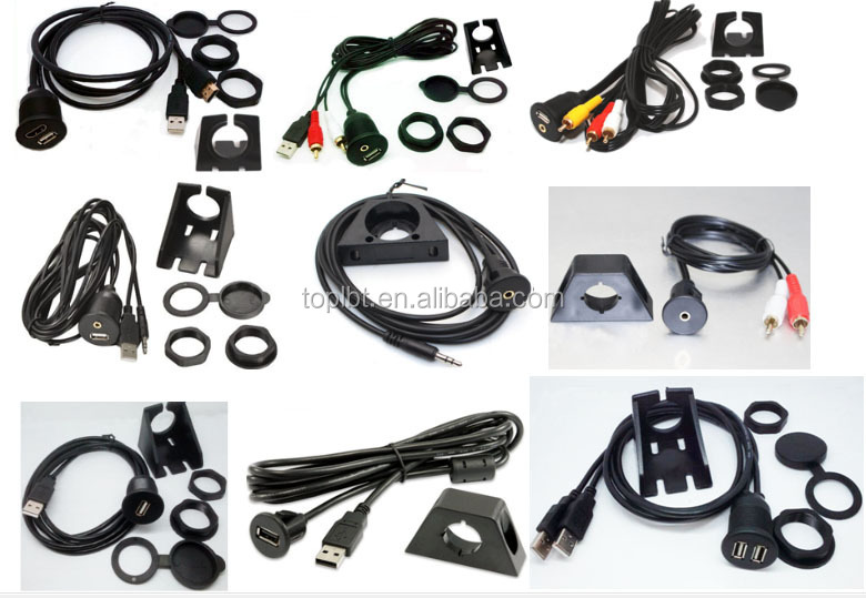 Aux 3.5mm or Mp3 input underdash cable kit Extension socket In Car Marine Dashboard Flush Mount Lead Cable