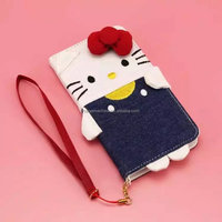 Hello kitty leather phone cases for iphone 6plus with long chain