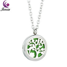 Jenia Tree of Life 316L Stainless Steel Perfume Aromatherapy Diffuser Necklace Pendant