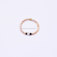 elastic pink pearl ring designs size adjustable for women