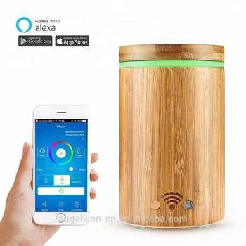 Amazon Shenzhen supplier real bamboo WIFI Alexa diffuser google play compatible APP humidifier with 7C led light