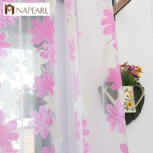 NAPEARL pink blue floral blind fabric sheer fancy living room curtain