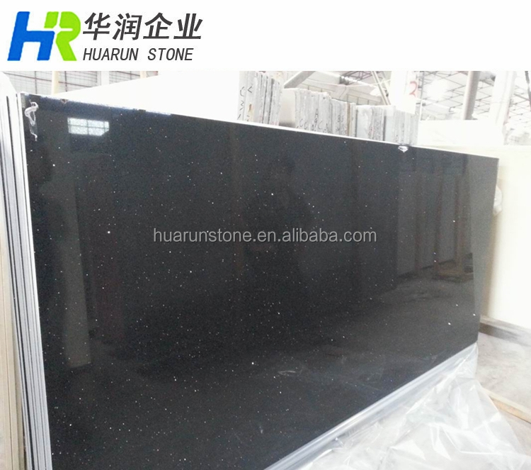 Black Galaxy Quartz Countertop, Black Sparkle Quartz Stone, Black Quartz Floor Tiles