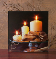 wholesale wall art with led lights canvas print lighted candle picture light up for room decoration art work painting frameless
