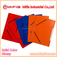 supplies custom color a4 fc paper cardboard elastic file folder with 3 flaps
