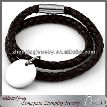 custom word logo stamped tag leather bracelet jewelry, valentine gifts, unique brand promotion gifts